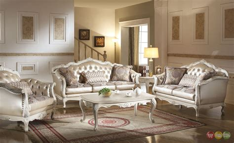 formal sofa sets chantelle traditional pearl white button tufted formal