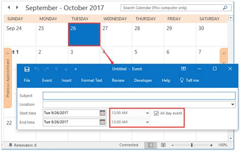 make calendar default how to make new appointments default to all day events in
