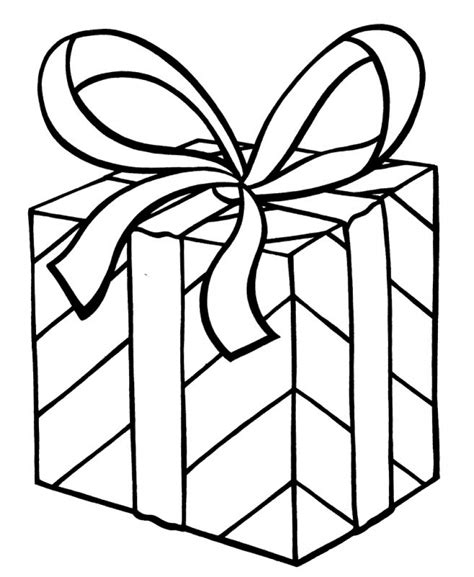 Present Template Christmas Gift Coloring Page