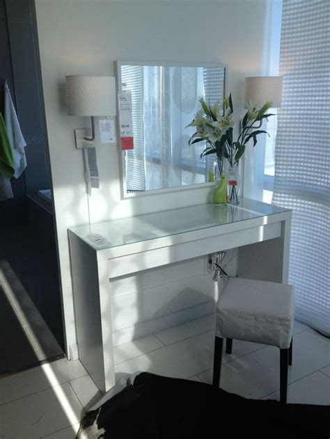 vanity with lighted mirror and bench malm vanity table ikea makeup vanity ideas pinterest