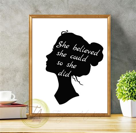 she believed she could so she did silhouette art black and