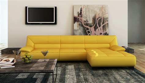 yellow sectional couch divani casa 5121b modern yellow italian leather sectional sofa