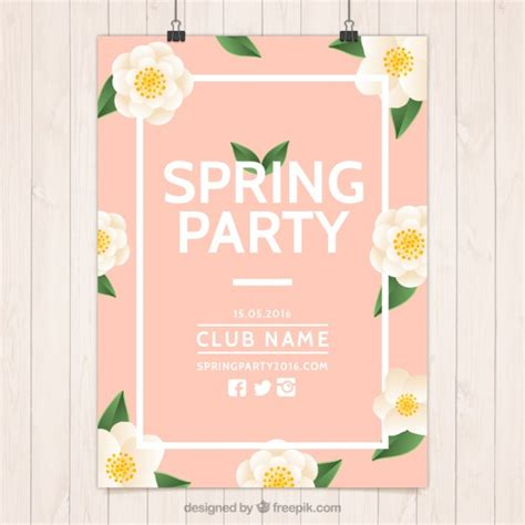 pink poster pink spring party poster with flowers vector free download