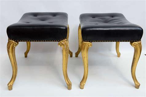hollywood regency ottoman vintage hollywood regency glam french black leather tufted