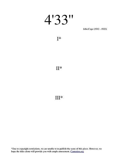 "4' 33"" - Sheet music - Cantorion - Free sheet music, free"