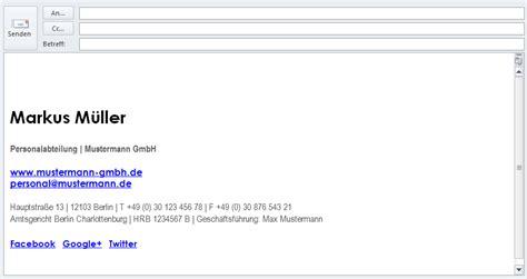 layout einer e mail e mail signatur vorlagen gesch 228 ftlich und privat mit