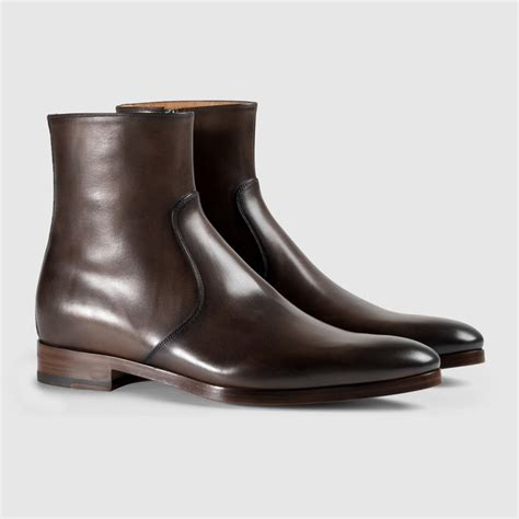 Handmade Leather Boots Uk - handmade brown boots leather zip up boots for