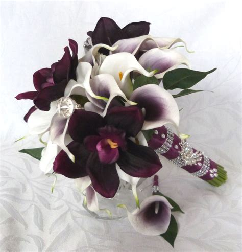 Real Bridal Bouquets by Picasso Real Touch Calla Bridal Bouquet Plum Orchid White