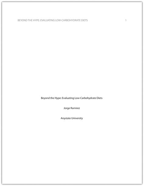 Apa Essay Title Page by Formatting A Research Paper