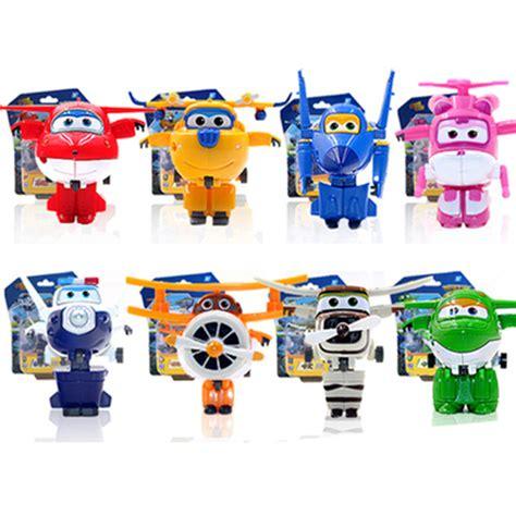 8 Pcs Mini Figure Set 8 pcs set wings figure toys mini airplane robot superwings transformation anime