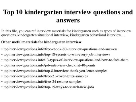 top 10 kindergarten interview questions and answers