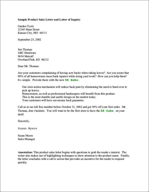 sales letter for product