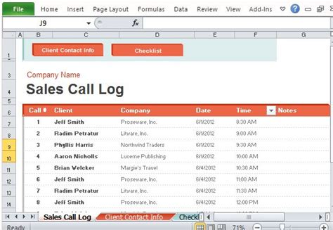 sales call template sales call log organizer for excel