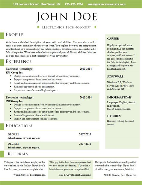 Resume Cv Elliot Free Free Resume Templates 568 To 574 Free Cv Template Dot Org