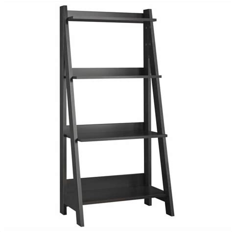 shelf ladder bookcase alamosa 4 shelf ladder bookcase in black my72716 03