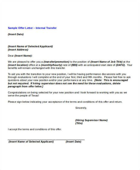 Lateral Transfer Letter To Employee transfer offer letter template 5 free word pdf format