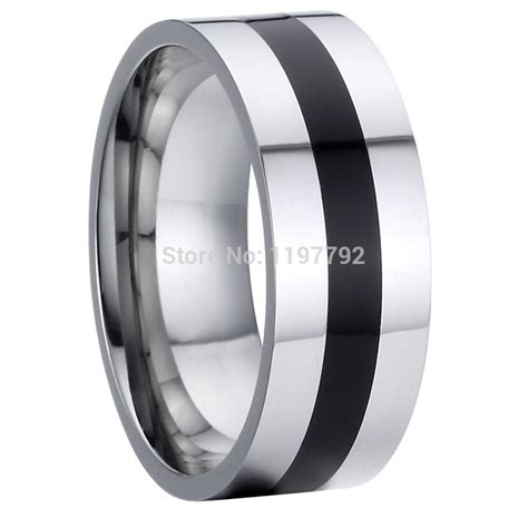 mens black onyx wedding rings aliexpress buy jewelry titanium steel cool