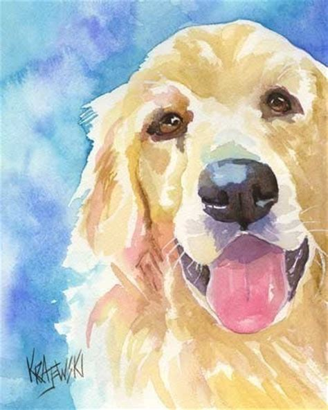 golden retriever watercolor golden retriever print of original watercolor by dogartstudio