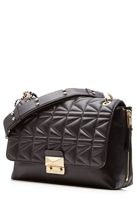 Quilt Bags by Karl Lagerfeld Quilted Leather Shoulder Bag In Black Lyst