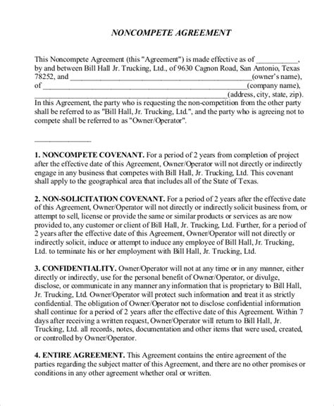 10 non compete agreement forms free sle exle
