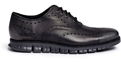 Favorite Cole Black Silver cole haan zerogrand wingtip brogue saffiano leather oxfords in metallic for lyst