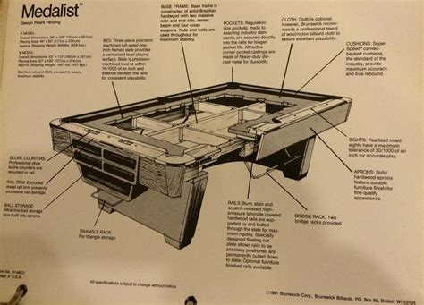 brunswick pool table assembly brunswick medalist manual or installation manual