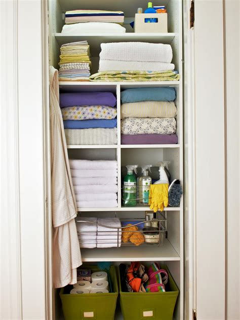 shallow linen closet organization storage ideas pinterest organizing a linen closet hgtv