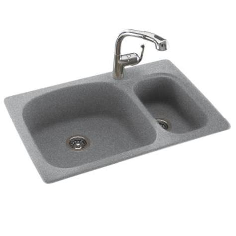 swan granite kitchen sink swan dual mount composite 33x22x9 in 1 large small bowl kitchen sink in gray
