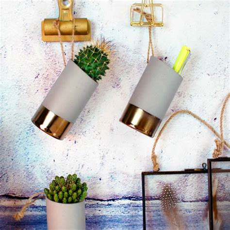 Pot Concrete Kaktus Mini Gold concrete grey gold brass vase for displaying mini cactus plant or pens with hanging