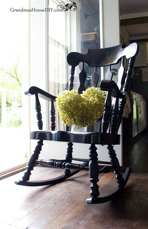 black painted rocking chair   dated  stunning