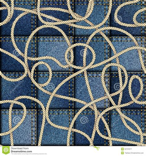 Patchwork Denim Fabric - patchwork of denim fabric stock vector image 52134571