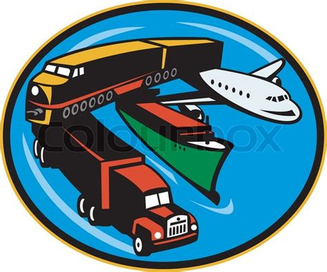 boat plane clipart plane train freighter boat transport stock vector