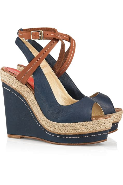 wedges shoes barcel 243 velati leather wedge sandals in blue navy