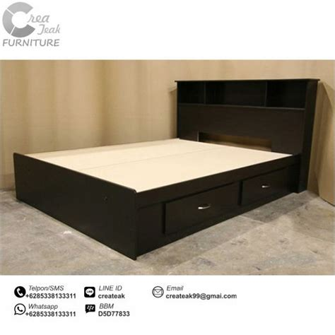Ranjang Kasur Dari Kayu dipan minimalis duco hitam elegan createak furniture createak furniture