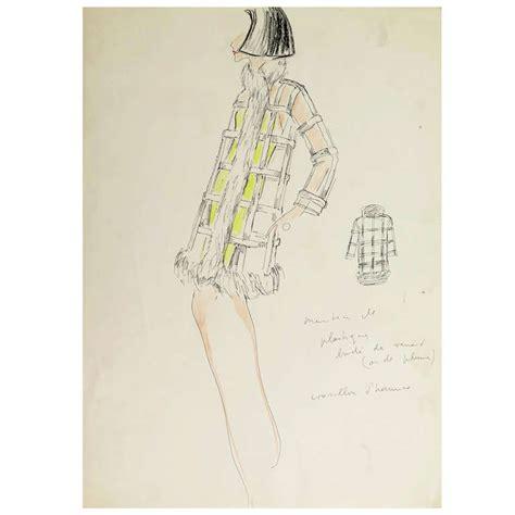 Karl Lagerfeld Original original karl lagerfeld fashion drawing circa 1965 on