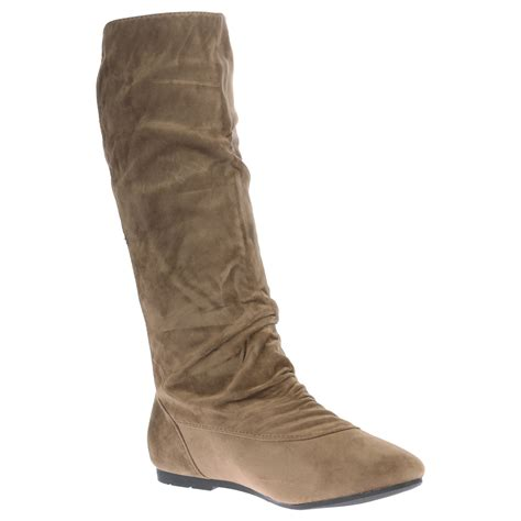 womens boots mid calf flat low heel pull on pixie