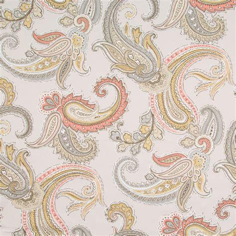 Grey and pink paisley cotton upholstery fabric yardage