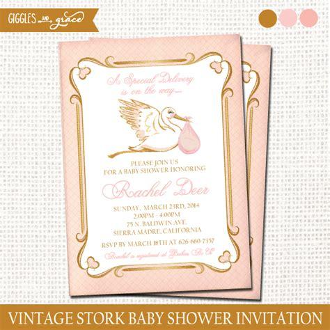 vintage stork baby shower invitation printable giggles