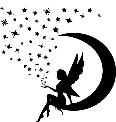 fairy silhouette tattoo designs on moon silhouette sitting on the moon