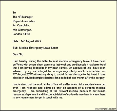 application letter for emergency leave emergency leave letter templatezet