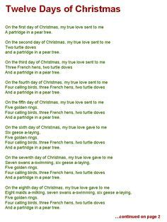 twelve days of christmas page one