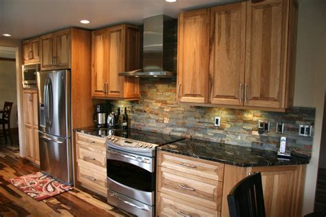 hickory raised panel kitchen traditional kitchen