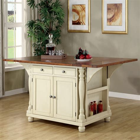 small kitchen island table work station with drop shop coaster furniture white craftsman kitchen island