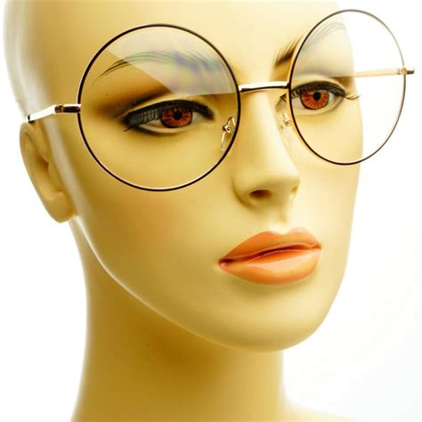 Vintage Retro Clear Lens Metal Oversized Circle Round Glasses Frames Black Gold   eBay
