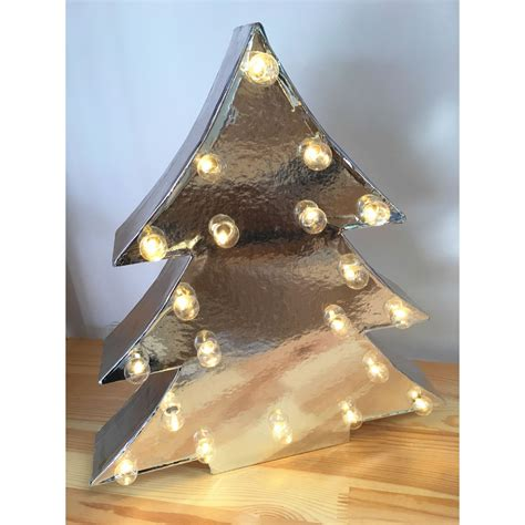 3d silver cardboard christmas tree light 20 white led