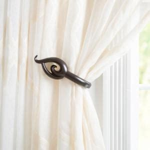 curtain tie backs home depot lavish home flame holdback pair in rubbed bronze 63 19509a