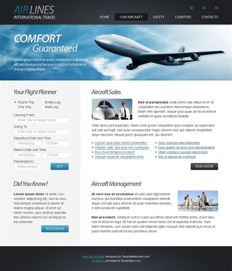 Free Html5 Website Template Airlines Company Website Templates Html5