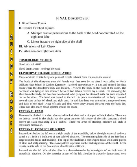 simple study template autopsy report template 5 free word pdf documents