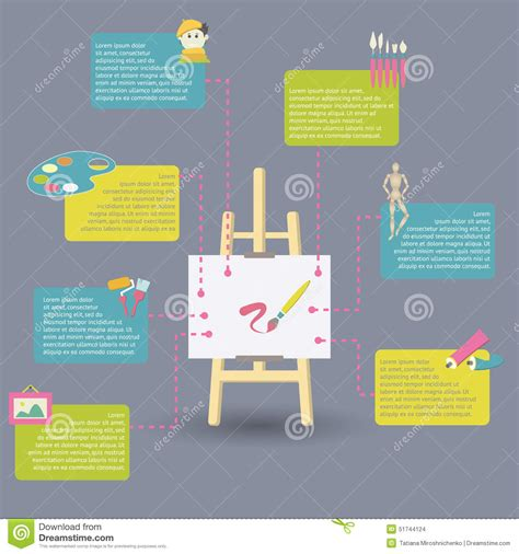 infographic art infographic of art supplies for painting stock vector