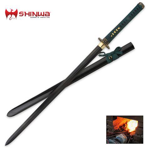 black blade katana sword shinwa black samurai katana sword damascus steel